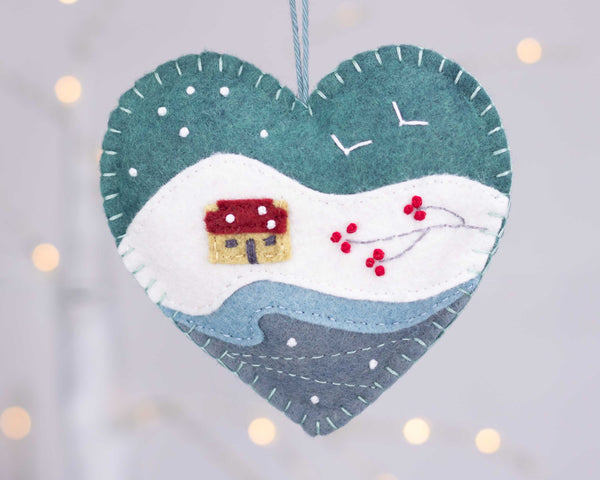 Embroidered felt winter landscape Christmas ornament