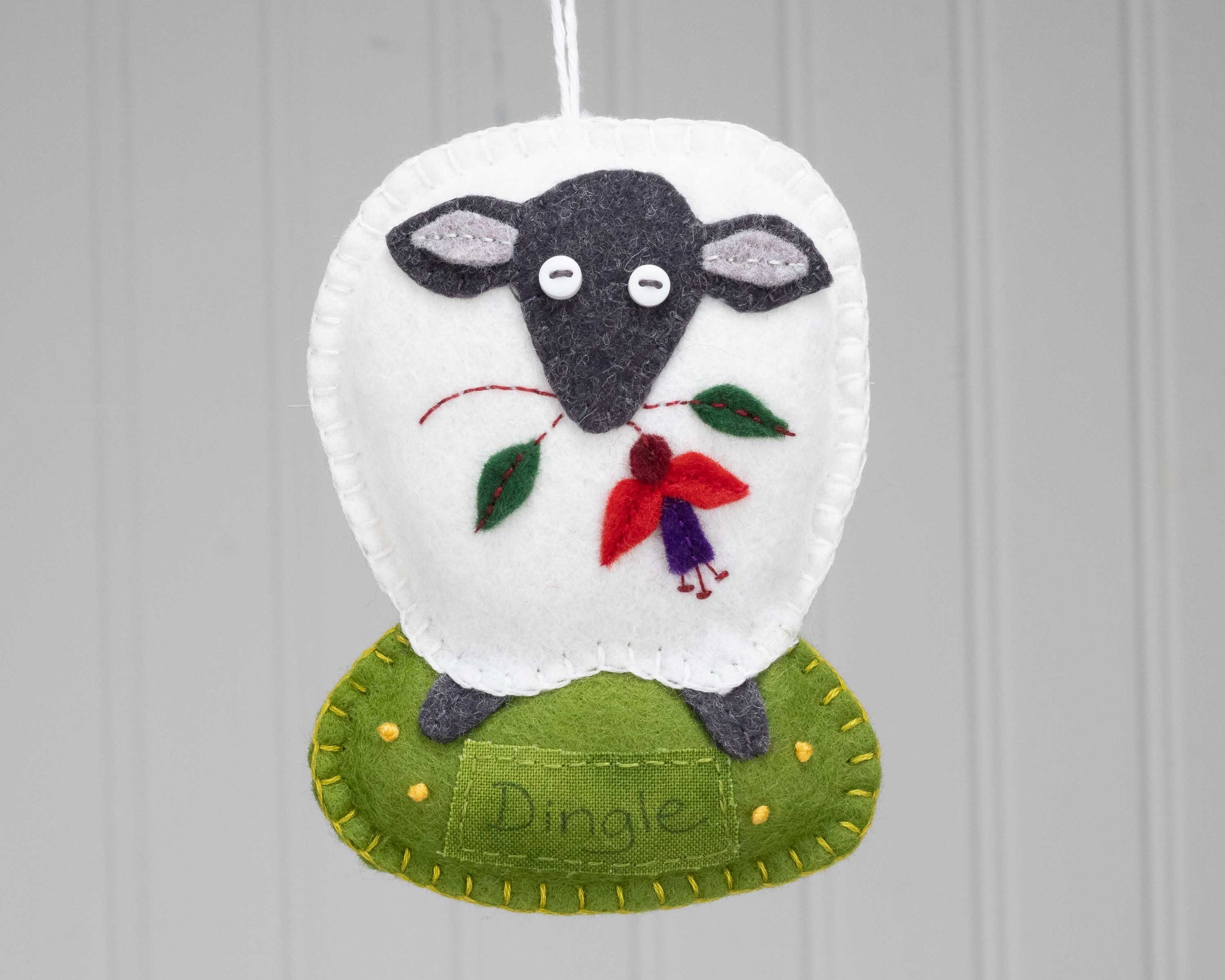 Personalised Irish sheep felt ornament