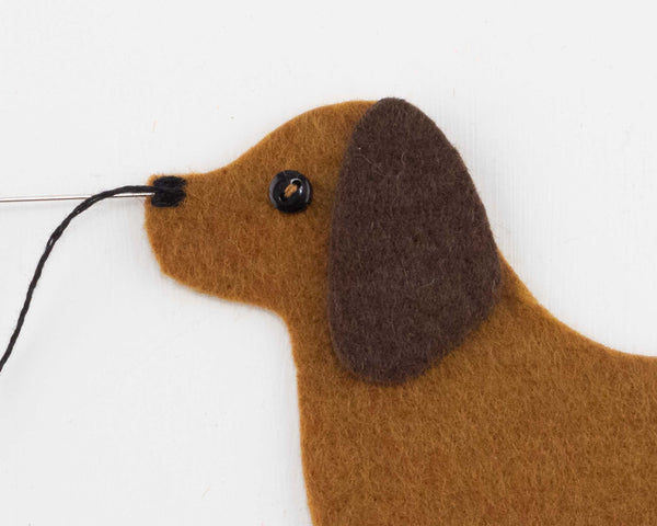 Dachshund felt ornament sewing pattern