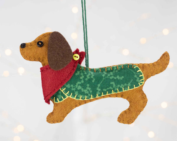 Dachshund Christmas ornament sewing kit