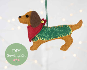 Dachshund felt ornament sewing kit