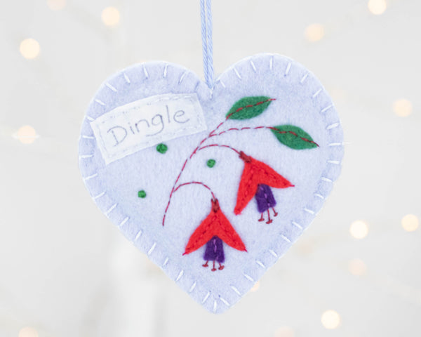 Dingle Fuchsia felt heart ornament