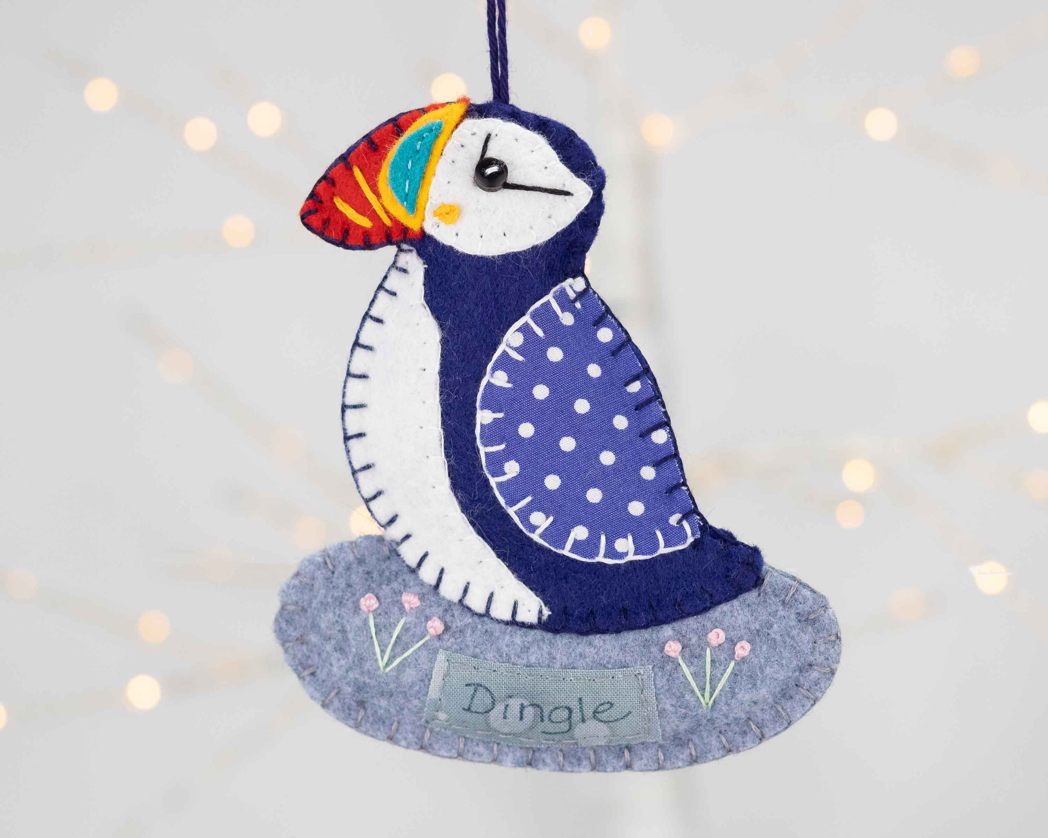 Personalised puffin felt ornament