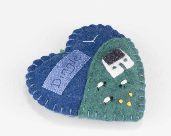 Irish Cottage felt heart ornament