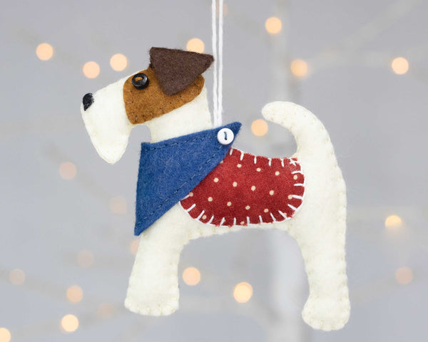 Fred the Fox Terrier felt dog ornament