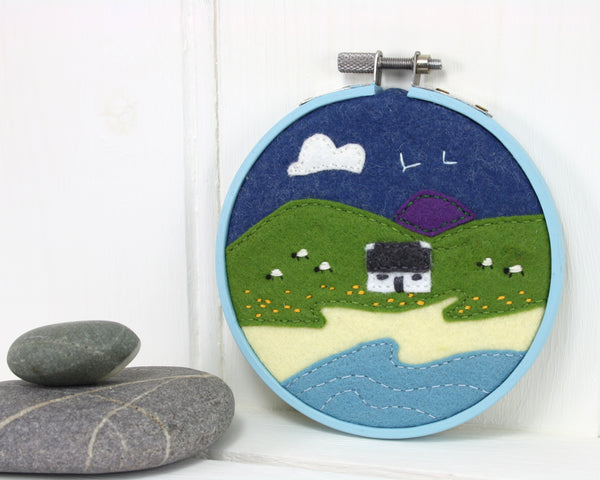 Textile landscape embroidery, Irish Cottage