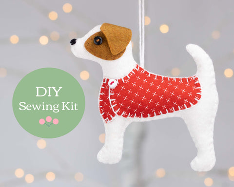 Jack Russell felt ornament sewing kit