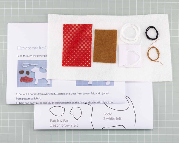Jack Russell felt ornament  kit contents