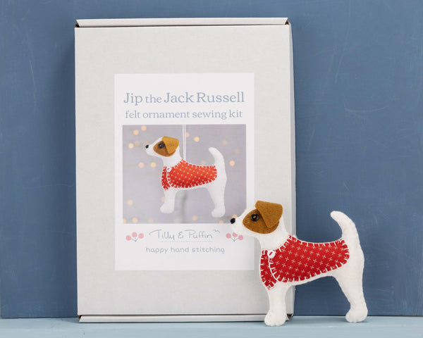 Jack Russell Christmas ornament sewing kit