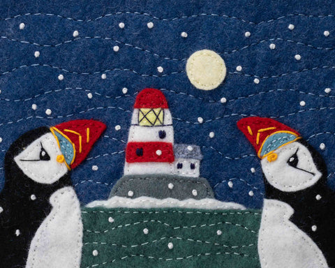 Large A5 Puffin and Lighthouse Christmas Cards