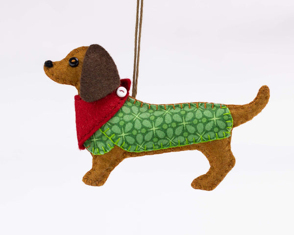 Mitzi the Dachshund felt Christmas ornament