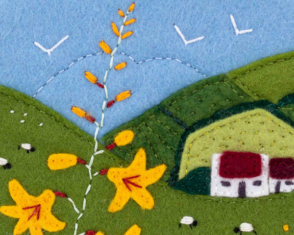 Irish cottage felt landscape embroidery