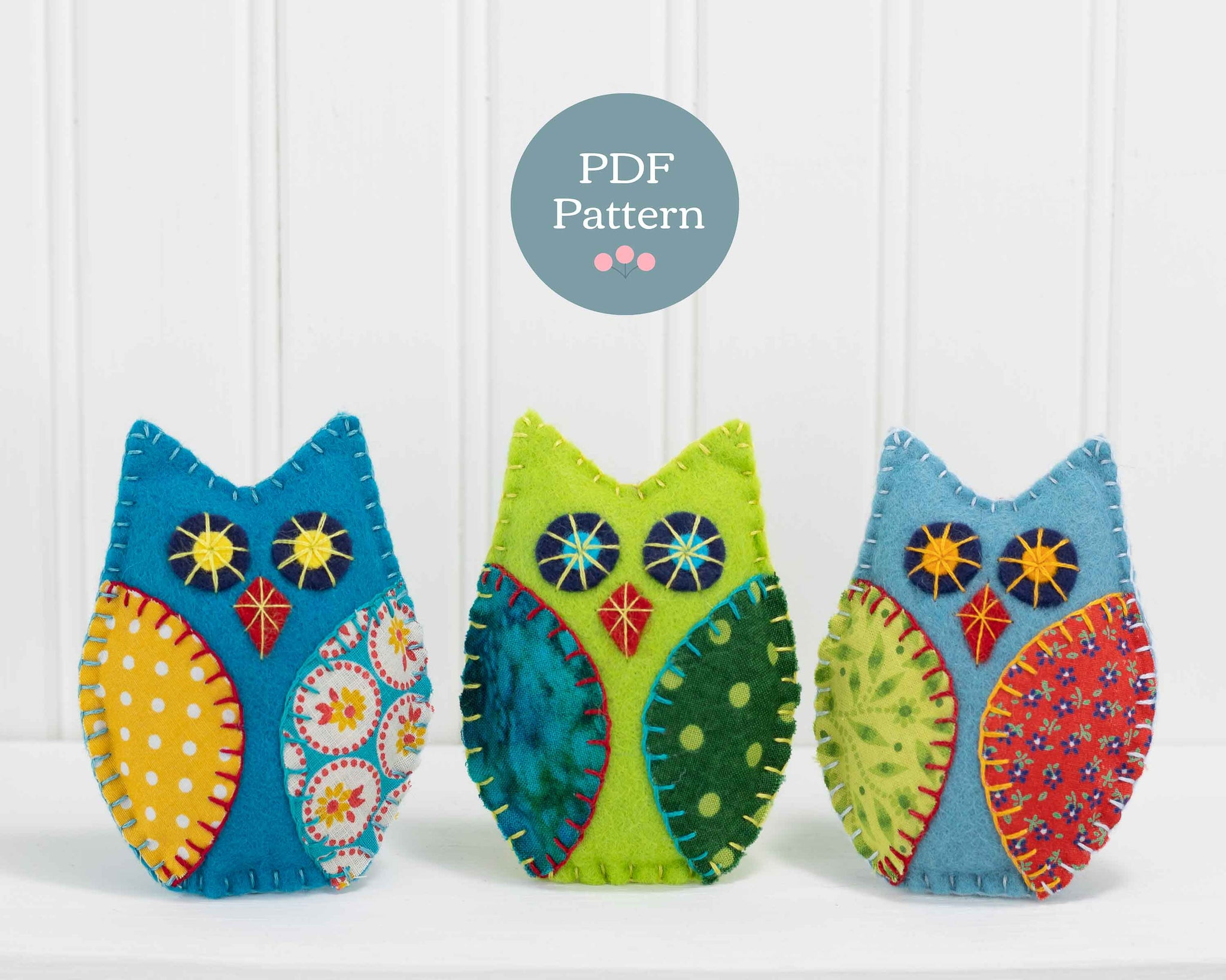Felt owl ornament PDF sewing pattern