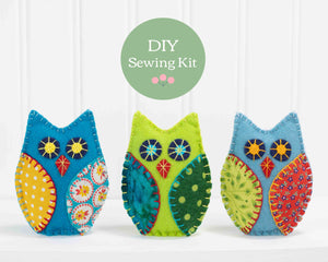 Owl felt ornament sewing kit