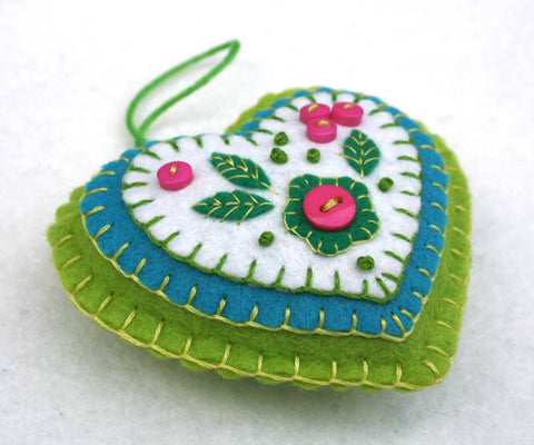 Pink and green handmade felt heart ornament