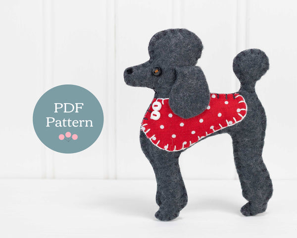 Pepe the Poodle felt ornament sewing pattern