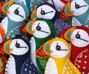 Felt Puffin ornament, Felt Christmas ornament, Bird Christmas ornament