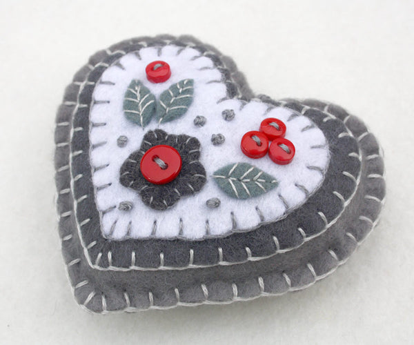 Red white and grey felt heart ornament