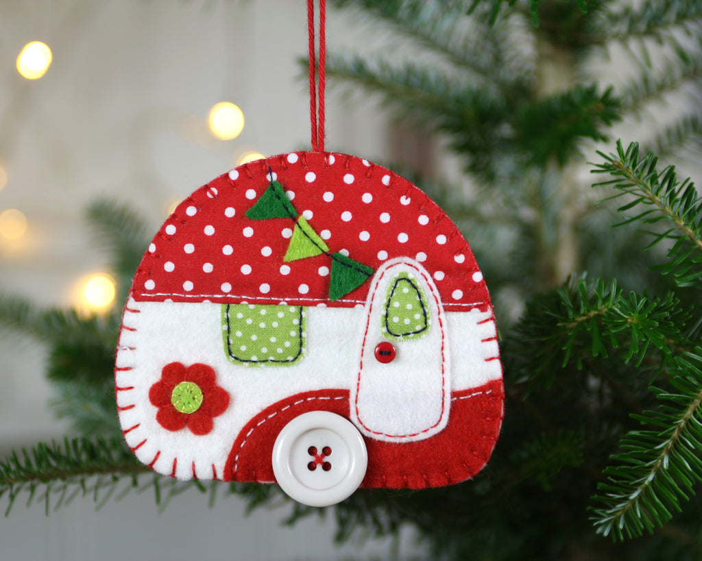 large camper christmas ornament in red and white - Camper Christmas Decorations