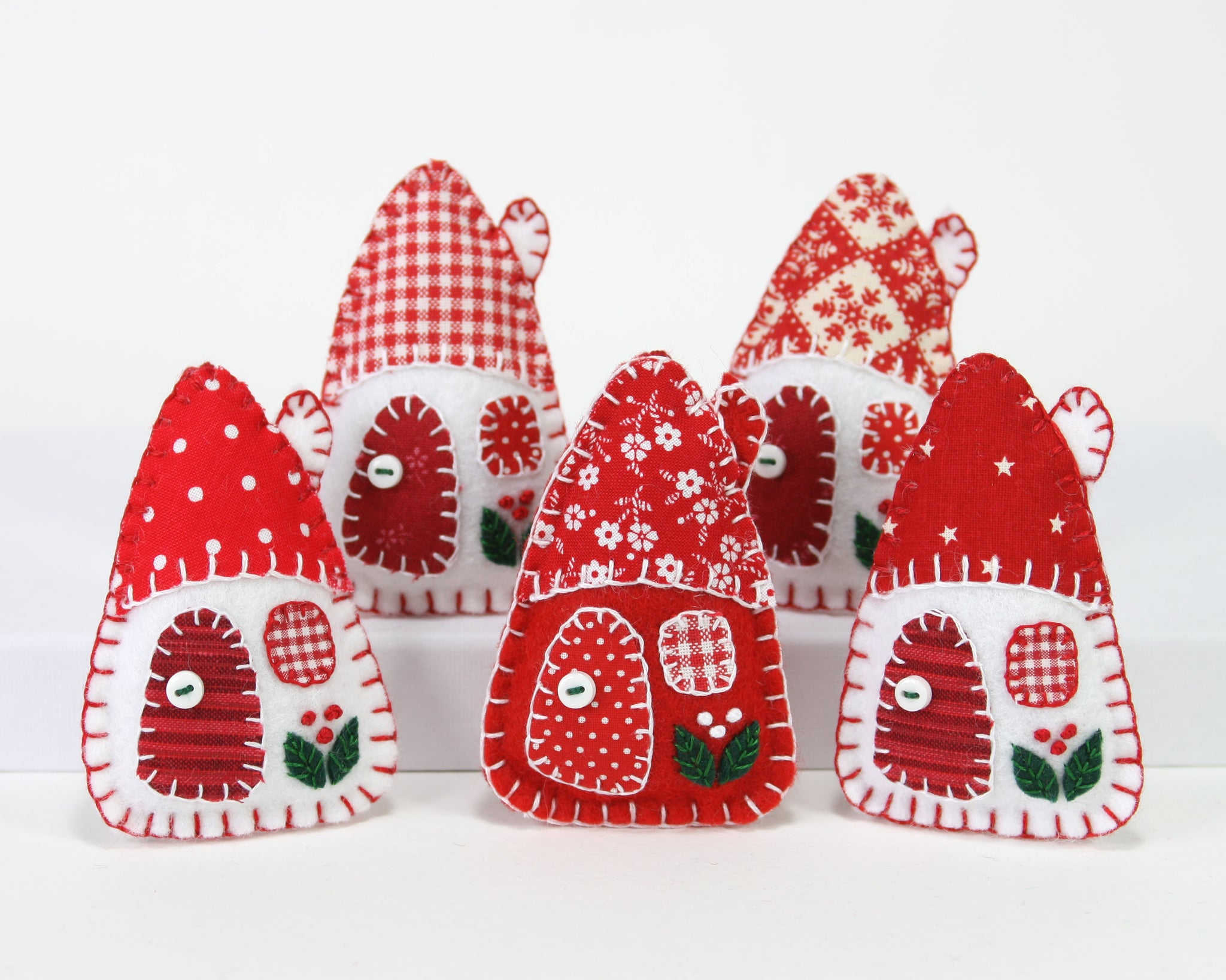 red and white house christmas ornaments - Felt Christmas Ornaments
