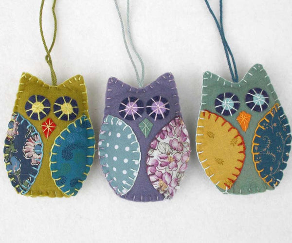 Felt owl ornaments in vintage retro colours