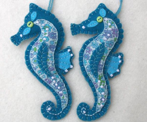 Felt seahorse ornaments, Puffin Patchwork