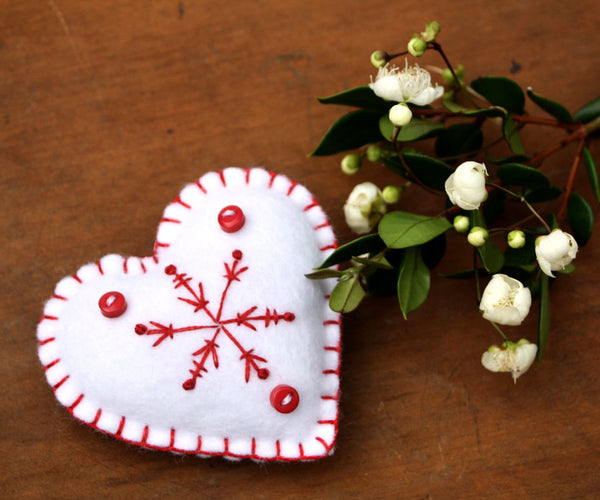 Felt Christmas ornaments, Snowflake hearts, Red and white felt ornaments.