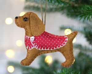 Cocker spaniel ornament, felt dog Christmas ornament, Millie