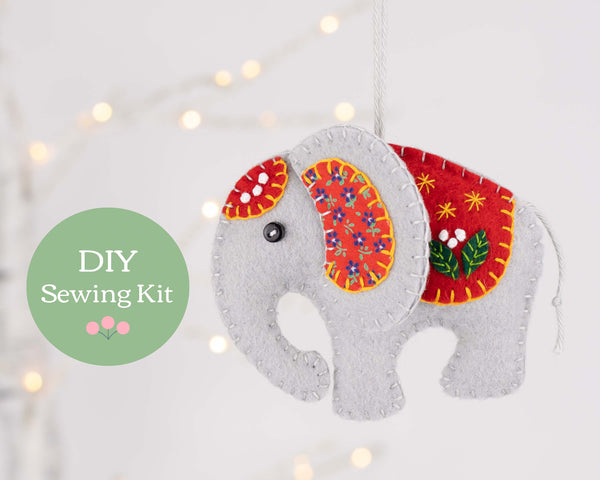 elephant felt ornament kit