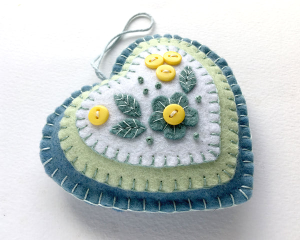 Spring flowers Easter heart ornament