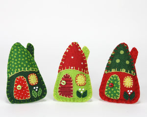 Red and green house Christmas ornaments