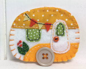 Felt Caravan Ornament in orange and white