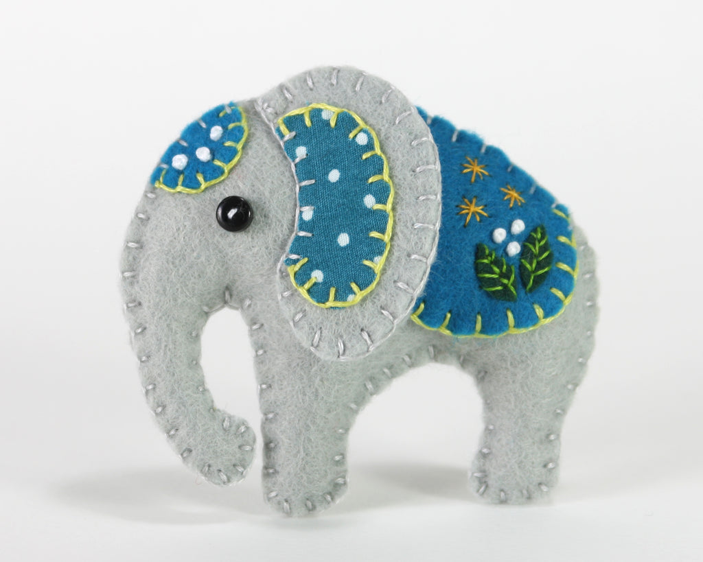 Handmade Felt Elephant Ornament, Elephant Christmas ornament ...