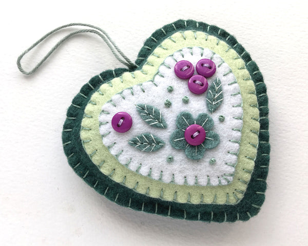 Floral felt heart ornament