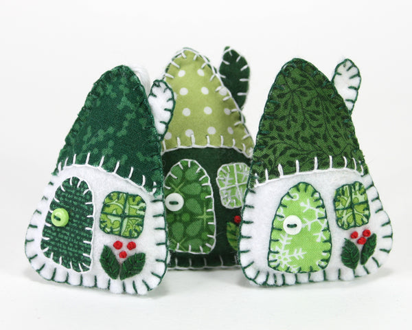 Little felt house Christmas Ornaments in green and white