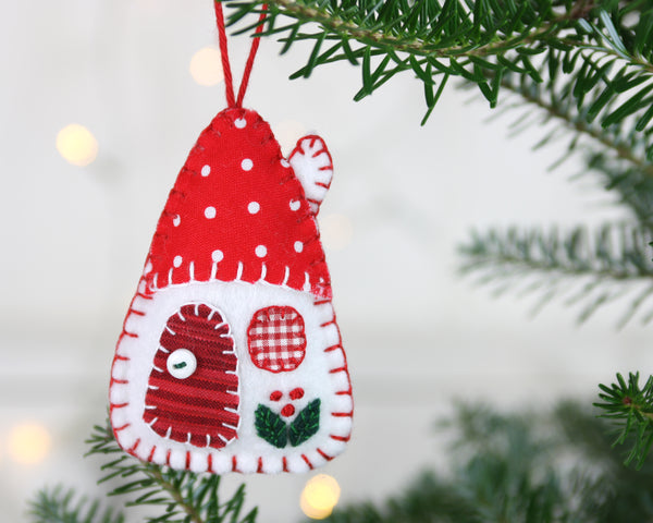 Red and white house Christmas ornaments