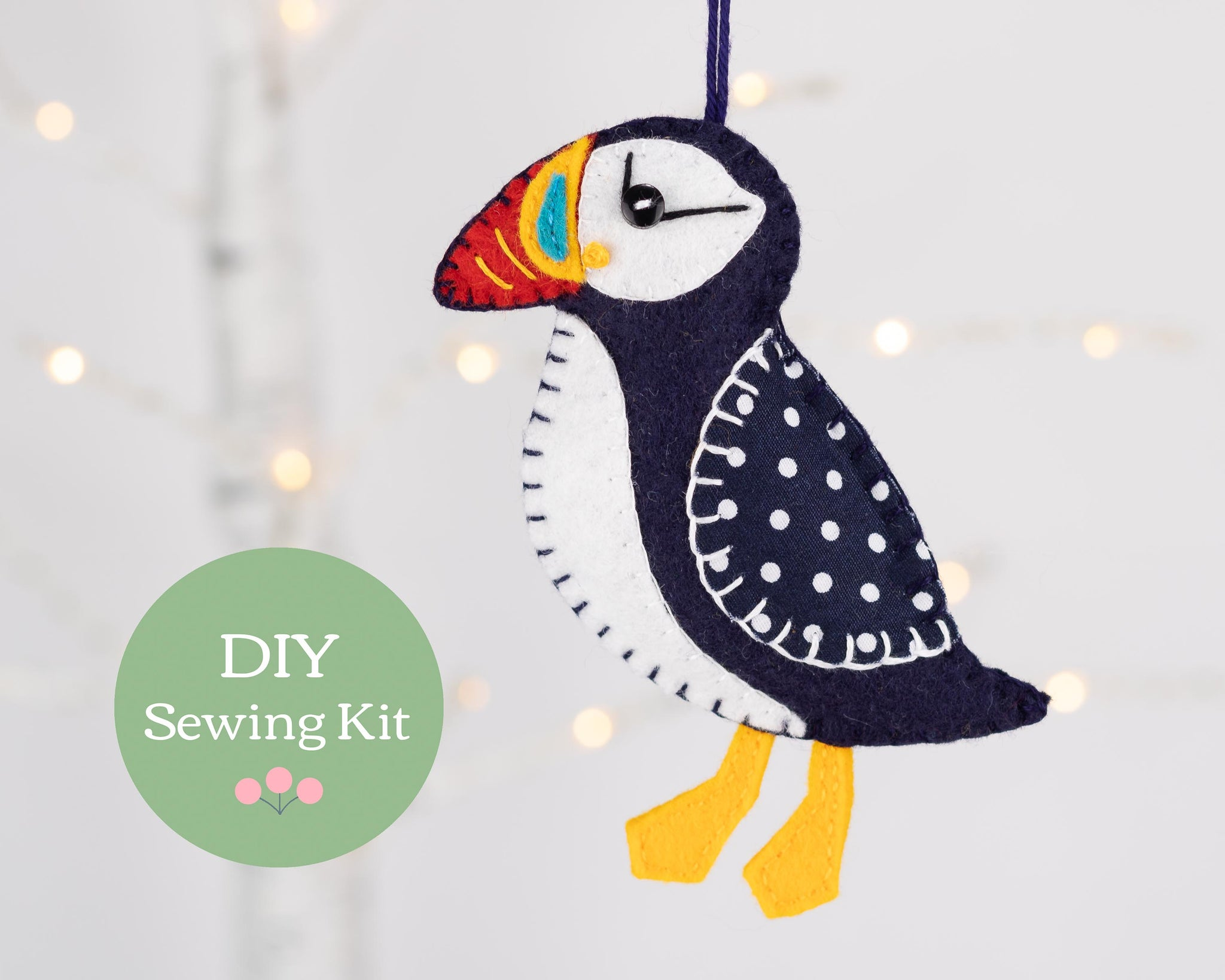 Puffin felt ornament sewing kit