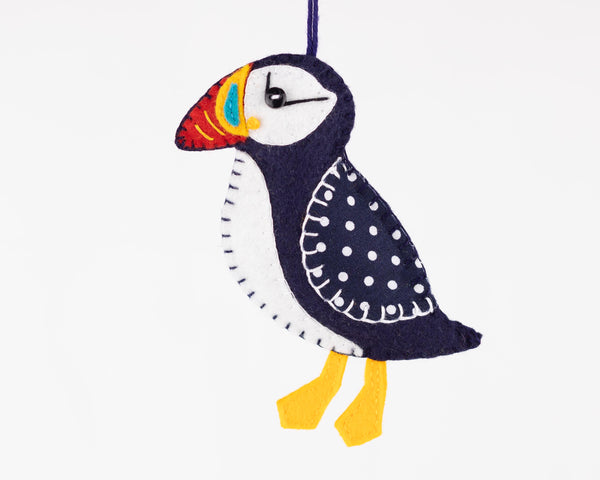 Puffin ornament felt sewing pattern