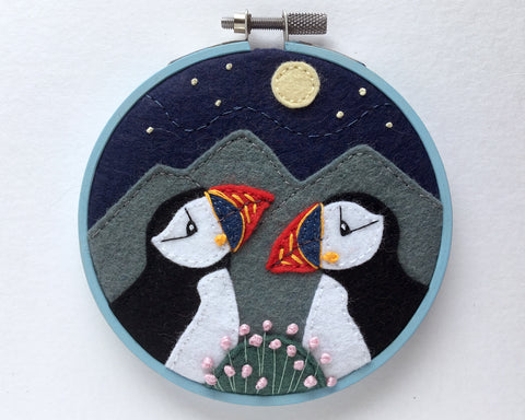Two Puffins hoop framed felt embroidery