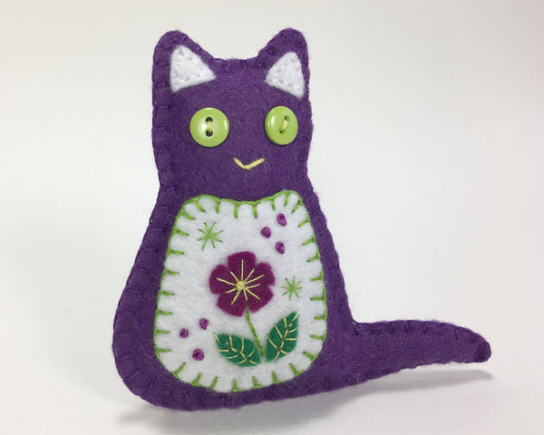 Flora the Cat embroidered felt ornament