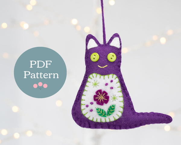 Cat felt ornament PDF sewing pattern for instant download