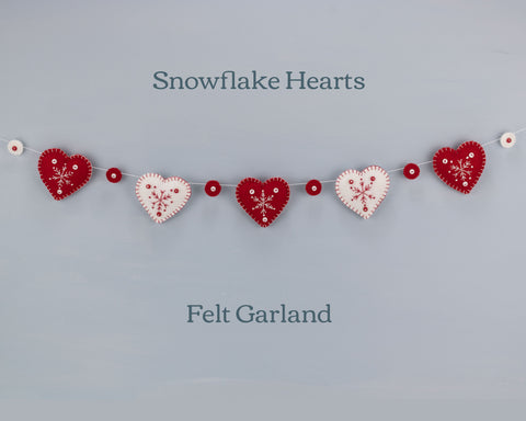 Snowflake Heart Felt Garland, Red and White