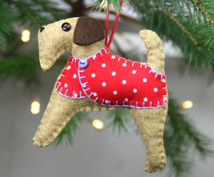 Alfie the Airedale terrier felt ornamnent