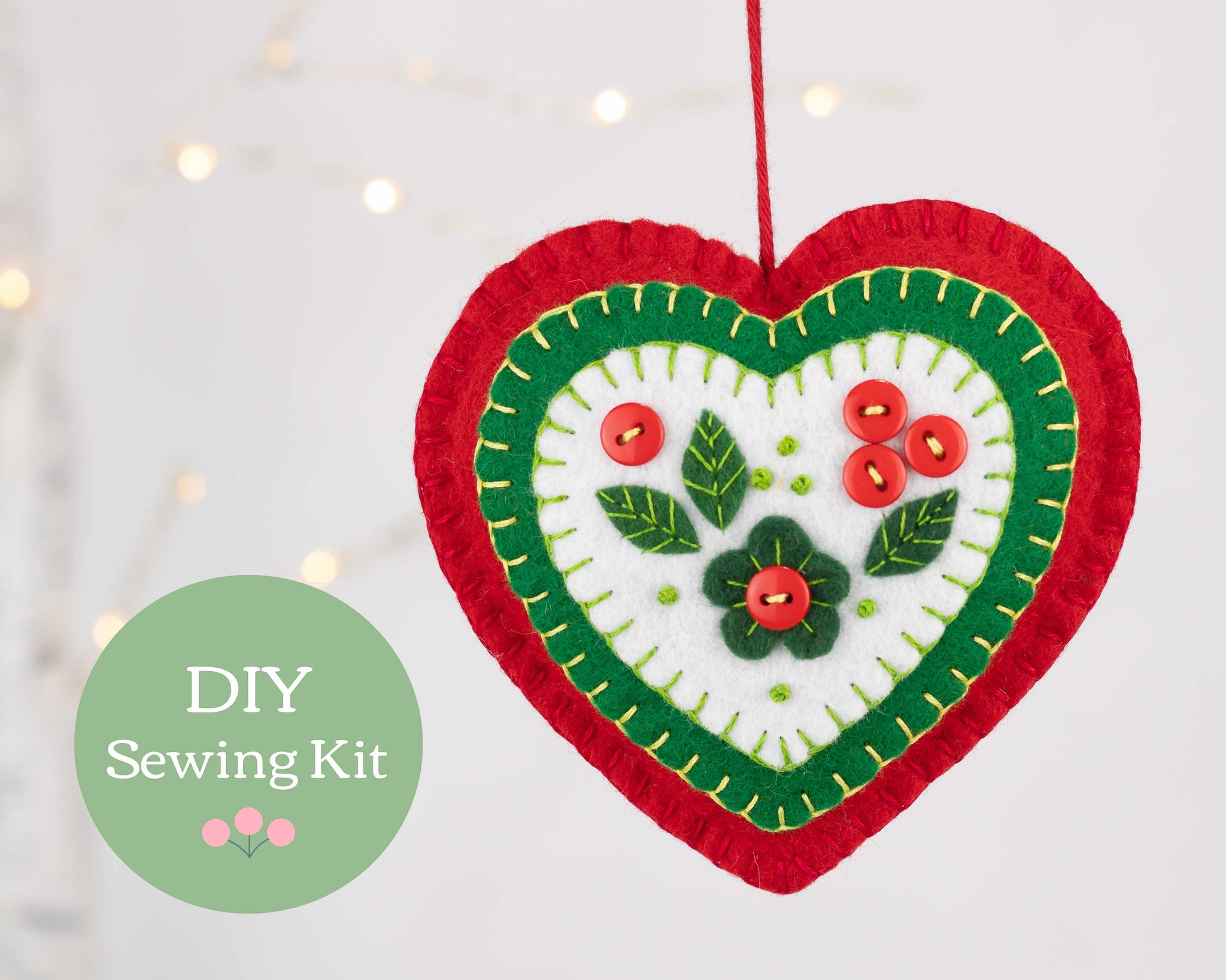 Winterberry heart felt ornament sewing kit