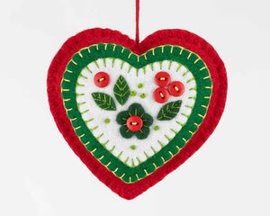 Holly heart felt Christmas ornament