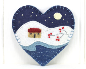 Winter cottage, starry night, felt Christmas ornament