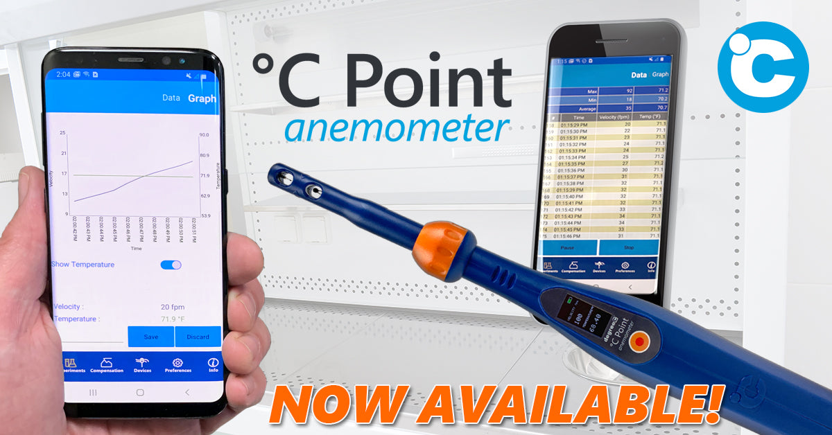 °C Point Anemometer with ± 3% Accuracy! Also features field replaceable sensor head and sends airflow data to your mobile device over Bluetooth.