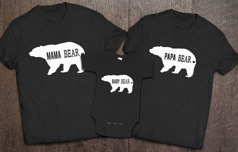 Mama Bear Papa Bear Baby Bear - Black - Clever Fox Apparel