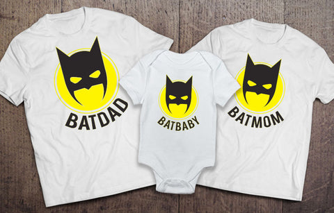 Batdad Batmom Batbaby Matching Set - White - Clever Fox Apparel