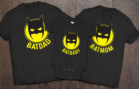 Batdad Batmom Batbaby Matching Set - Black - Clever Fox Apparel